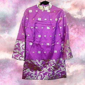 Vintage purple and gold shift style dress